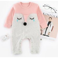Cute Fox Print Color Blocked Long-sleeve Jumpsuit for Baby