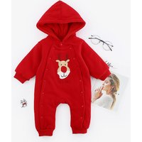 Warm Reindeer Embroidered Layered Hooded Jumpsuit for Baby