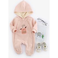 Warm Cartoon Print Fleece-lining Hooded Jumpsuit for Baby