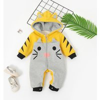 Warm Cat Design Embroidered Fleece-lining Hooded Jumpsuit for Baby