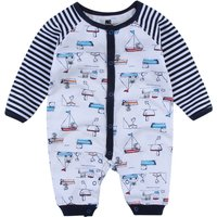 Trendy Boats Print Striped Long Sleeve Jumpsuit for Baby Boy