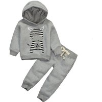 2-pieces Cute Animal Print Hooded Sport Top and Pant Set