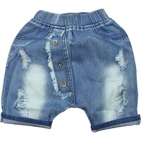 Trendy Button Decor Ripped Jeans for Boy