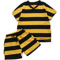 Comfy Color Block Striped Short Sleeves Tee and Shorts Set for Boys
