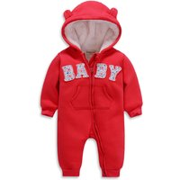 Comfy BABY Appliqued Long-sleeve Hooded Jumpsuit for Baby