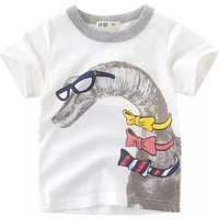 Boy's Cute Bow Dinosaur Print Short Sleeves Tee