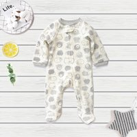 Fashion Bear Print Long Sleeves Footie Jumpsuit for Baby Boy
