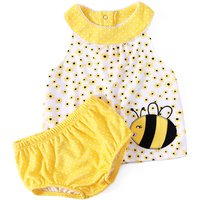 2-piece Cute Animal Applique Sleeveless Dress with Dotted Shorts Set for Baby Girl