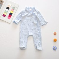 Soft Allover Stars Ruffled Footie Long-sleeve Jumpsuit for Baby