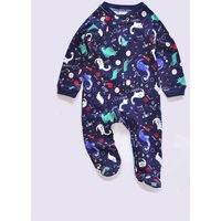 Comfy Cartoon Dinosaur Print Footed Long-sleeve Jumpsuit for Baby