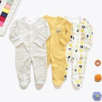 Soft 3-piece Bunny Striped Dotted Footie Long-sleeve Jumpsuit for Baby
