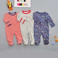 3-piece Soft Space Rocket Planet Print Striped Footie Jumpsuit for Baby