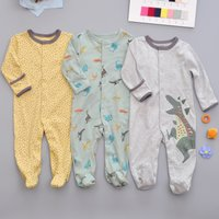 Soft  3-piece Dinosaur Print Dotted Footie Jumpsuit for Baby