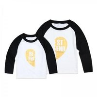 Stylish Mom and Me BEAT FRIEND Contrast Long-sleeve T-shirt