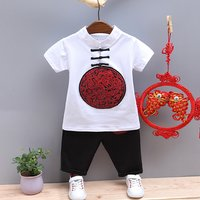 Stylish Chinese Dragon Print Stand collar Short-sleeve T-shirt and Pants Set for Boy
