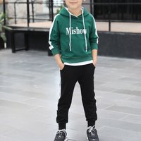 Sporty Letter Printed Sweatshirt and Pants Set for Kid