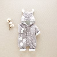 Cute Triangle Print Quilted Hooded Cotton Jumpsuit for Baby