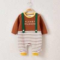 Lovely Straps Decor Stripes Jumpsuit for Baby