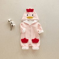 Cute Chicken Design Striped Long-sleeve Hooded Jumpsuit for Baby