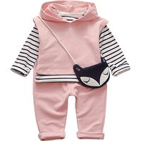 3-piece Cute Stripes Long-sleeve Shirt, Hooded Pullover and Pants with Fox Bag for Baby Girl