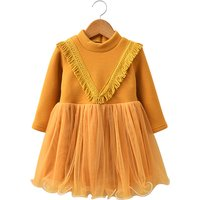 Trendy Tassel Tulle Fleece Lining Dress for Toddler Girl/Girl