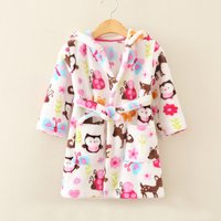 Comfy Allover Printed Plush Night Robe for Girls
