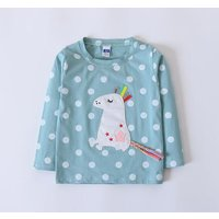 Pretty Cartoon Appliqued Long-sleeve Tee for Toddler Girl and Girl