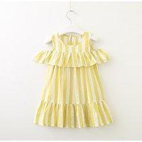 Lovely Striped Ruffled Cold-shoulder Dress for Toddler Girl and Girl