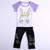 2-piece Rabbit Print Short-sleeve Tee and Pants for Toddler Girls