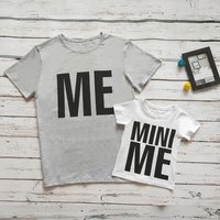 Fashionable ME and MINI ME Print Matching T-shirt for Daddy and Me