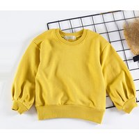 Girl's Stylish Solid Long Sleeve Pullover
