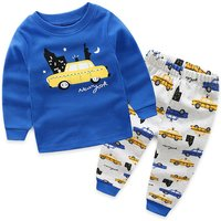 Cool Car Print Blue Long-sleeve Tee and Pants Set for Toddler Boy/Boy