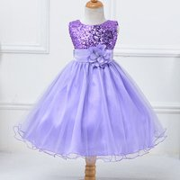 Trendy Sequins Floral-accent Sleeveless Wedding Dress Party Dress for Girls