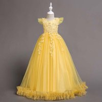 Delicate Solid Embroidery Flower Cap-sleeve Tulle Maxi Party Dress for Girl