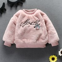 Baby and Toddler Girl's Pretty Letter Embroidered Plush Pullover