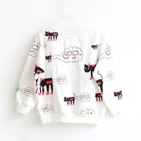 Fun Cat Print Long Sleeves Top for Girls