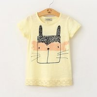 Comfy Cat Print Short Sleeves Tee for Girls