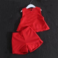 2-piece Solid Tank Top and Shorts in Red for Girls