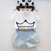 Stylish SPARK Print Short-sleeve T-shirt and Pearl Decor Shorts Set for Toddler Girl and Girl