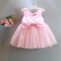 Pretty Bow Decor Sleeveless Tutu Dress in Pink for Toddler Girl and Girl