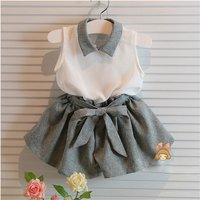 Sweet Sleeveless Blouse and Elastic Waist Shorts Set for 2-3 Years Toddler