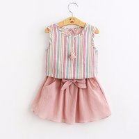 Pretty Striped Sleeveless Top and Skirt Set for Baby Girl and Girl ( no necklace )