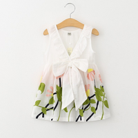 Pretty Floral Bow Decor Sleeveless Dress in White for Toddler Girl and Girl