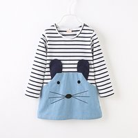 Cute Mouse Applique Striped Long-sleeve Dress for Baby Girl and Girl