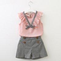 2-piece Stylish Ruffled Sleeveless Top and Plaid Shorts Set