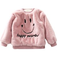 Cute Smiling Face Pattern Fleece-lined Pullover for Toddlers and Kids