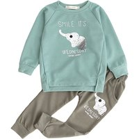 Adorable 2-pieces Elephant Print Top and Pants Set for Toddler Kids