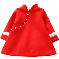 Beautiful High-neck Long-sleeve Red Dress for Baby and Toddler Girls