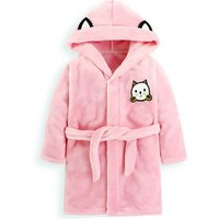 Cute Cat Applique Fleece Hooded Nightgown Bathrobe for Baby and Kid