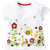 Stylish Flower and Bee Print Short-sleeve T-shirt for Baby Girl